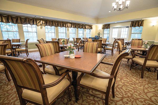 Community dining room in Brookdale Lake Brazos