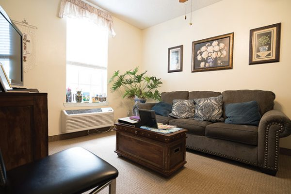 Model living room in a residence in Brookdale Lake Brazos