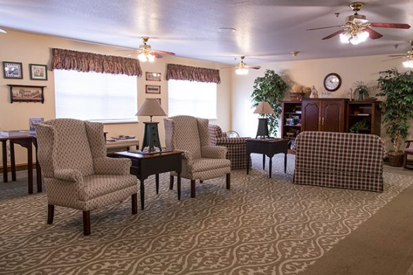 Brookdale Russellville community common area with wingback chairs