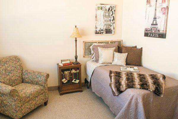 Model bedroom in a residence in Brookdale Tanglewood Oaks