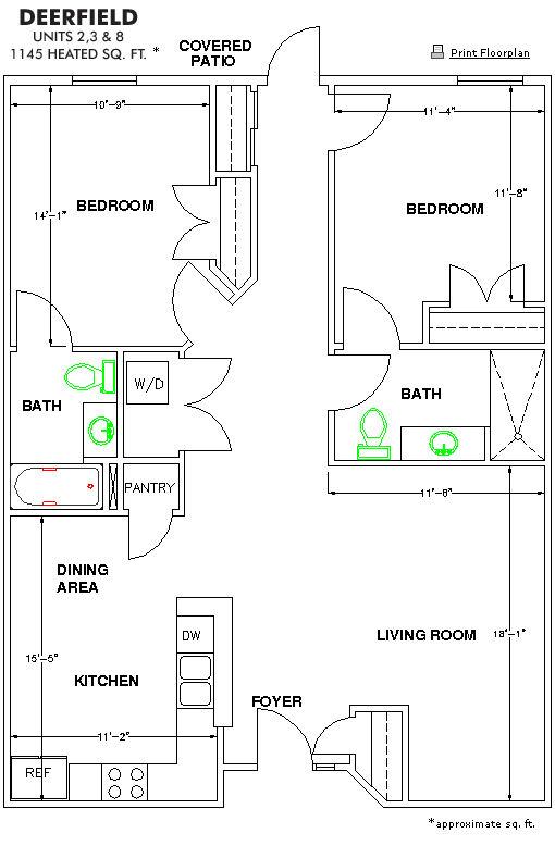 The Methodist Oaks deerfield 2 bedroom floor plan