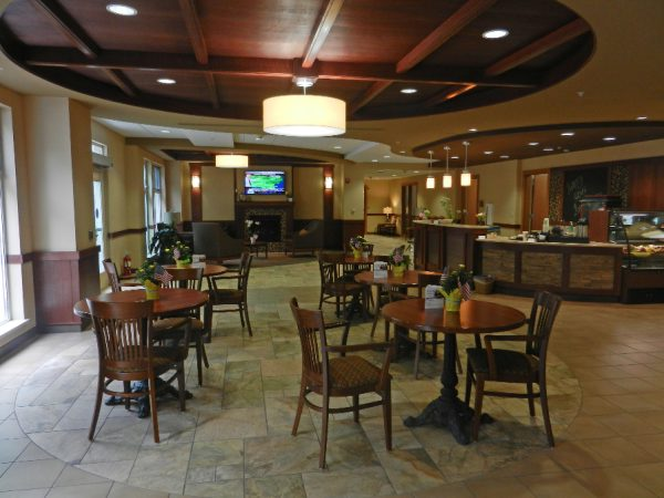 Common area and bistro bar in Milwaukee Catholic Home