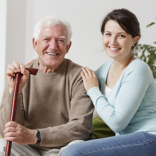 Father and daughter in Madison Manor Nursing Home