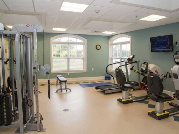 Gym equipment in the Brightmore of South Charlotte fitness center