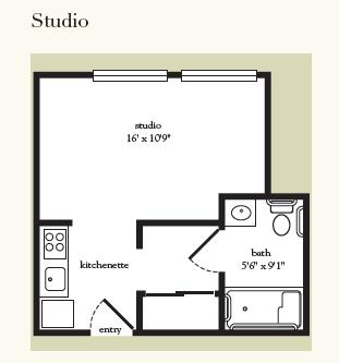 Atria Greenridge Place studio floor plan