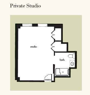 Atria Hamilton Heights studio floor plan