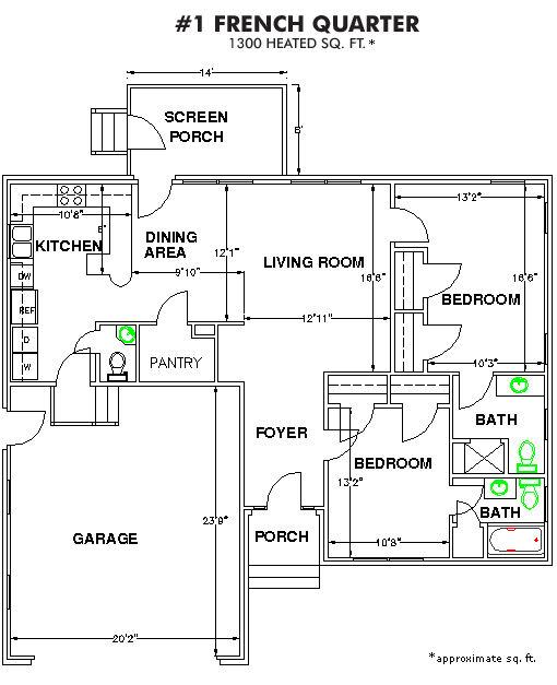The Methodist Oaks french quarter 2 bedroom floor plan