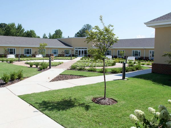 Resident walkways in the courtyard of Regency Retirement Village - Huntsville