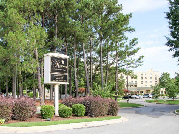 Regency Retirement Village - Huntsville entrance sign and landscaping