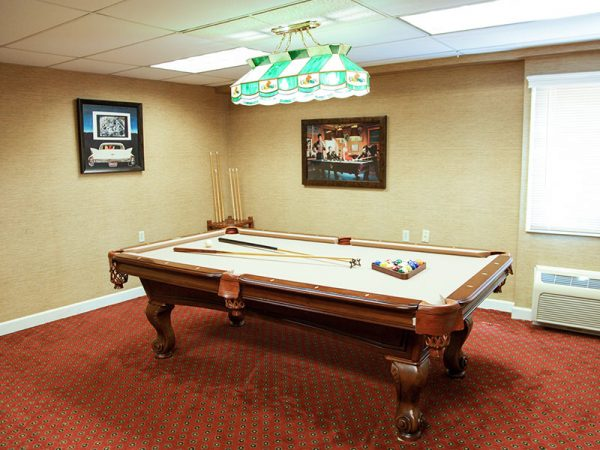 Regency Retirement Village - Huntsville billiards room with tan felt covered pool table