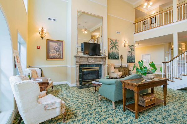 Lobby and fireplace in Homestead Village of Fairhope