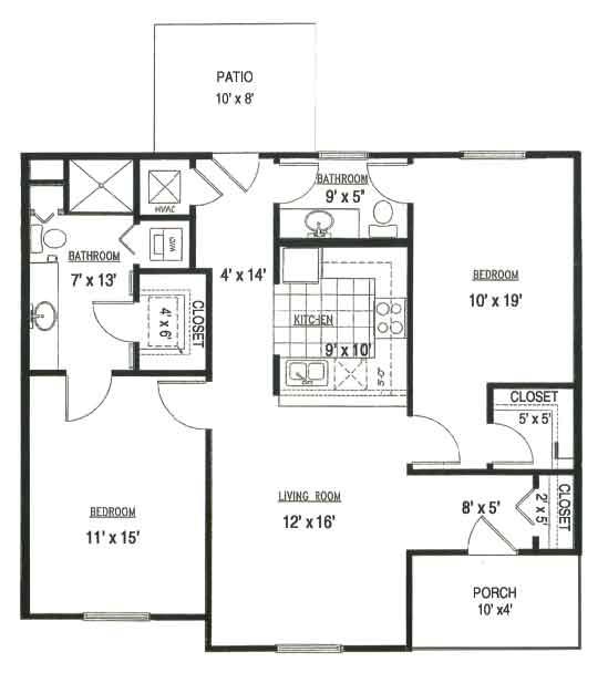LiveOak Village 2 bedroom floor plan