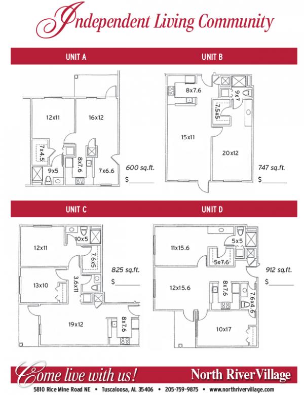 North River Village independent apartment floor plans
