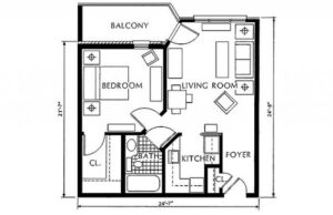 St. Martin's in the Pines one bedroom floor plan