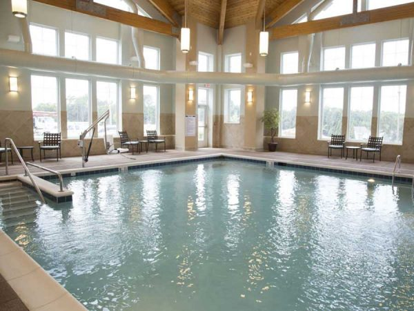 Indoor swimming pool at Brightmore of South Charlotte