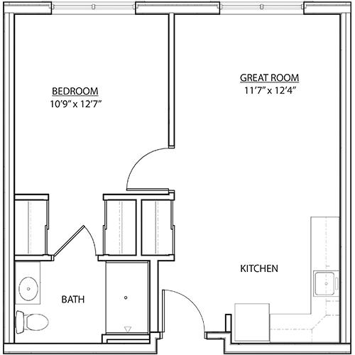 St. Rita Square 1 bedroom AL floor plan