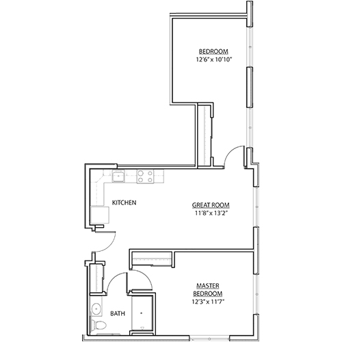 St. Rita Square 2 bedroom AL floor plan
