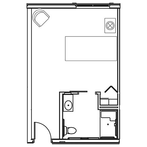St. Rita Square Memory Care studio floor plan
