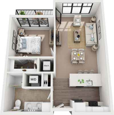 St. Rita Square 1 bedroom IL floor plan