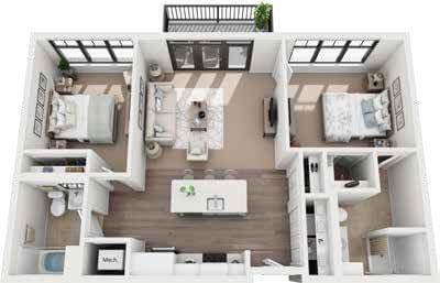 St. Rita Square 2 bedroom IL floor plan