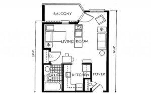 St. Martin's in the Pines studio floor plan