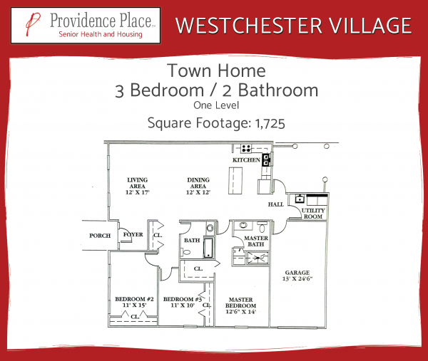 Westchester Village at Providence Place townhome 1 floor plan