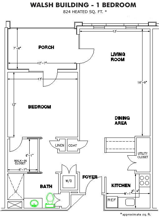 The Methodist Oaks walsh 1 bedroom floor plan