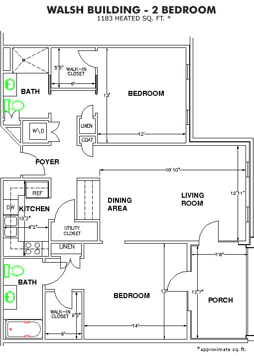 The Methodist Oaks walsh 2 bedroom floor plan