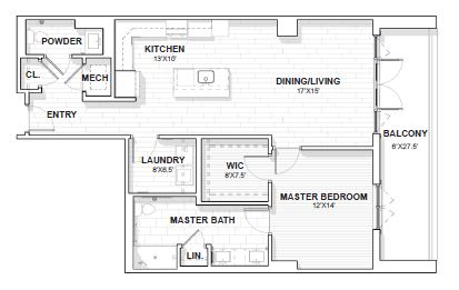 The Barclay at SouthPark Drexel floor plan