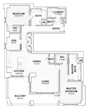 The Barclay at SouthPark Rutherford floor plan