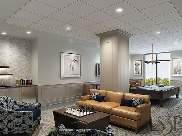 Billiards room for residents of The Barclay at SouthPark