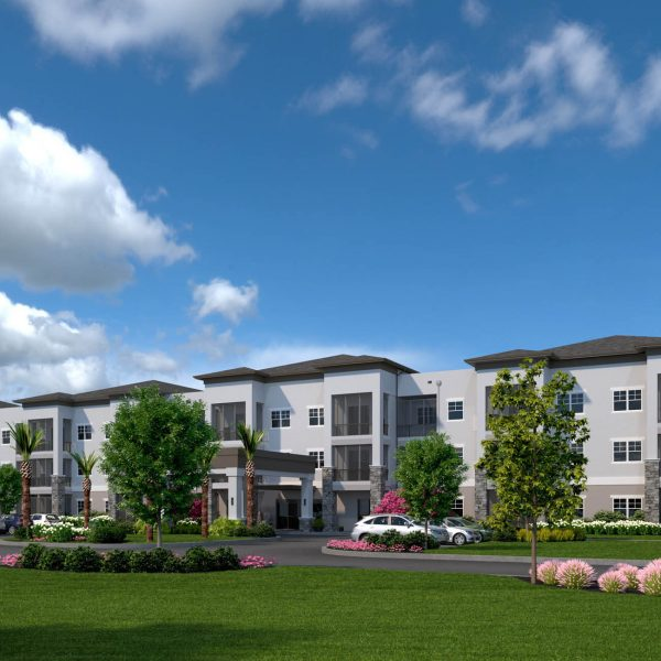 Front Entrance artist rendering of Highpoint Stonecrest with beautiful spring landscape