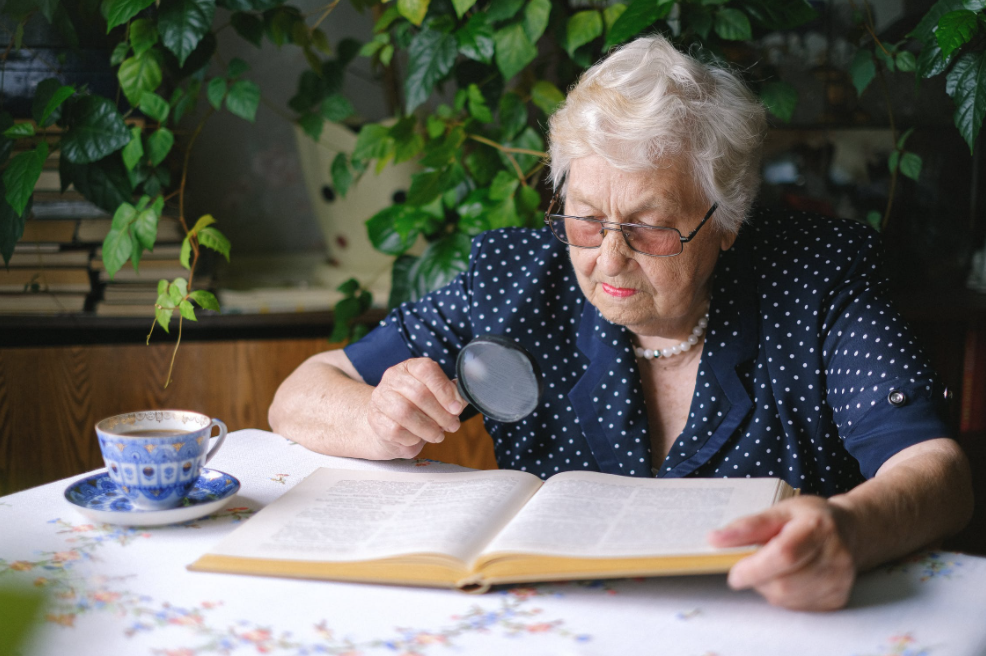 Senior woman using magnifying glass to read a book