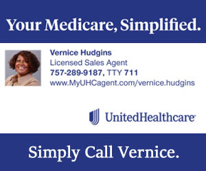 United Healthcare blue and white image logo and photo of Vernice Hudgins