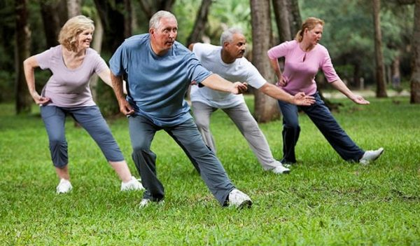 Two mature men and two women doing Tai chi outside on the green grass